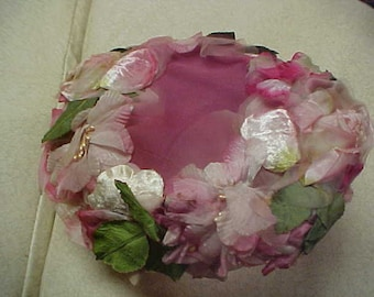 pink flower fascinator hat with original tag and union label