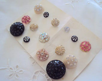 Vintage lot Rhinestone buttons - assortment of 15 sparkling buttons