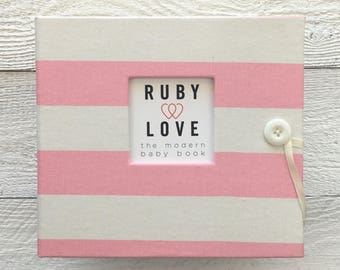 BABY BOOK | Baby Pink and White Canopy Stripe Album | Ruby Love Modern Baby Memory Book