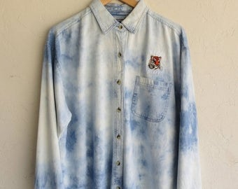 "35% OFF SPRING SALE Hazed Tie Dyed ""Tiger"" Denim Shirt"
