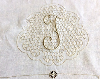"Vintage 144"" Cream Linen Tablecloth Banquet Size Monogram T"