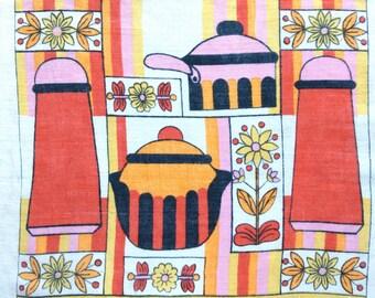 Linen Towel Cooking Kitchen Pink Orange Red Salt Pepper