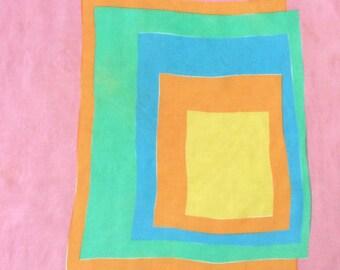 Vera Silk Scarf Geometric Squares Pink Blue Orange