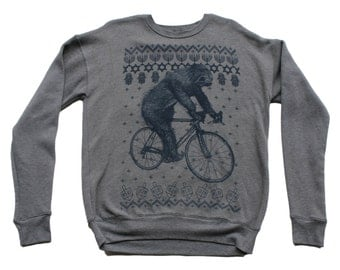 Ugly Hanukkah Holiday Sweater Unisex Sweatshirt - Sloth on a Bicycle - exclusive NEW 2015 design