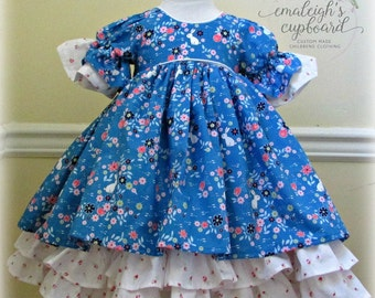 Girl Blue bunny easter ruffle dress birthday wedding