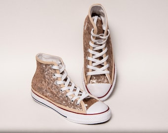 Kids - Youth - Champagne Gold Sequin Converse Canvas Hi Tops Sneakers Tennis Shoes