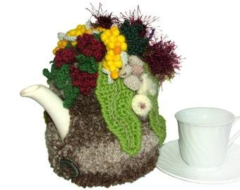 Tea Cozy OOAK Crochet Tea Cosy with Australian Wild Flowers, Aussie Tea Cosy, Floral Tea Cosy