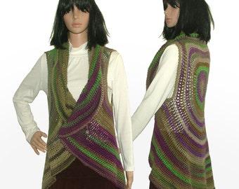 Circular Vest, Womens Crochet Vest, Boho Vest, Shrug Cardigan Vest, Bolero Vest, Circular Jacket, Round Crochet Vest