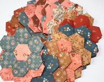 20 Civil War Reproduction SALE Jo Morton Reflections Hexagon Flowers English Paper Piecing
