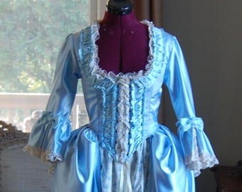 Spring blue Marie Antoinette Victorian inspired rococo costume dress