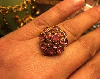 Vintage pink cluster Sarah Coventry ring