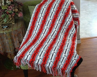 Holiday Sales 10% Off New Ready to be shipped Today, Handmade Crochet Red/White/Black Afghan Throw Over-Blanket, Football Blanket Throw Over