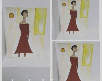 black woman art, black girl painting,afrikaans art,African American art,black woman painting,sharahschoices,hadasshschoiices