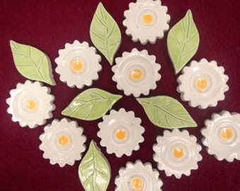 Mosaic Flower Tiles-Yellow and Off White Mosaic Flower Garden Tiles -2. each