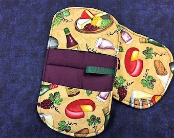 Wine and Cheese Oval Pot Holders - set of 2