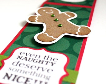 CLEARANCE 40% OFF - Funny Christmas Wine Tag - Even the Naughty Deserve Something Nice - Paper-Pieced Wine Tag