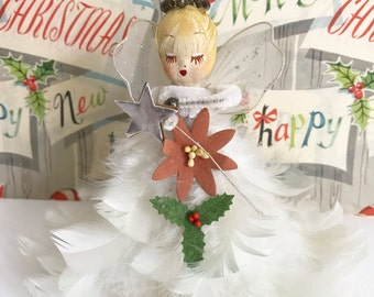 Vintage Angel Feather Gown Christmas Tree Topper