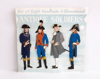 Vintage Paper Dolls Antique Soldiers Die Cut Figures Revolutionary War Shackman Company