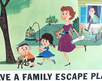 Vintage Poster Fire Safety Classroom Sign Decor Walt Disney Studios Family Escape Plan