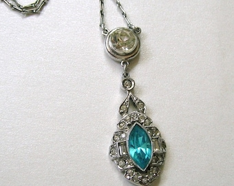Antique Edwardian Sterling and Blue Glass Necklace, Old Sterling Necklace, Antique Sterling Rhinestone Necklace (#2330)