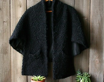 Vintage 50s Wool Cape Womens Black Cape Fully Lined Vintage From Nowvintage on Etsy