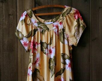 60s House Dress Mumu Bohemian Hawaiian Midi Barkcloth Yellow Green Vintage From Nowvintage on Etsy