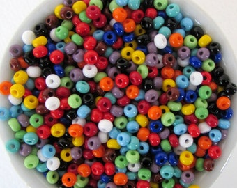 Czech Glass Seed Bead Multi Color Blue Green Red Orange Yellow White Opaque Mixed Lot Size 6/0 gsb0124 (10 grams)