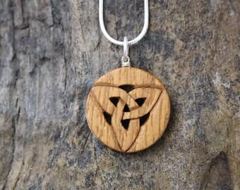 Irish oak Celtic knot necklace ~Handmade Irish gifts~ Trinity knot Wooden pendant on Sterling silver ~ Wood anniversary gift