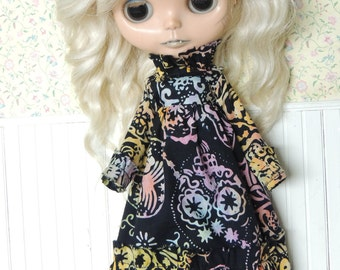 Black Rainbow Batik Skulls Ruffle Dress for Blythe, Blue Yellow Red Pink