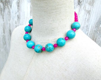 Turquoise Pink Beaded Chunky Necklace, Big Round Beads Choker
