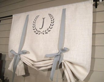 Monogram Creamy White Burlap 36 Inch Long Stage Coach Blind Swedish Roll Up Shade Tie Up Curtain Swag Balloon