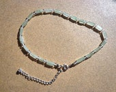 Green Aventurine Ankle Bracelet, Gemstone Rectangles with Clear Glass Beads and Silver Plated Extension Chain, Prosperity Stone, Lucky Stone