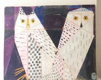 Painting on reclaimed wood of two snowy owls