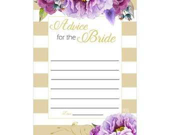 Digital Printable Advice for the Bride for Bridal Shower with Purple Flowers on Gold ADB002