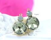 Black Diamond & Grey Opal Vintage Round Stones 18x11mm Swarovski Crystal Bangle Connector Link Brass Settings - 2