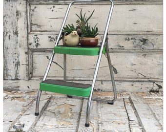 Vintage Step Stool - Step Stool - Costco Stool - Metal Stool - Folding Step Stool - Side Table - Plant Stand - Green Stool - Retro Stool -