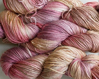 Silk Bamboo yarn, Hand-dyed, 225 yds- Sandstone
