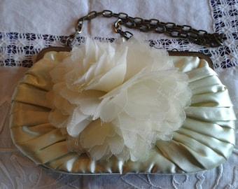 Vintage Handbag - Phase Eight Vintage Style Purse/Handbag in Cream Satiny Fabric
