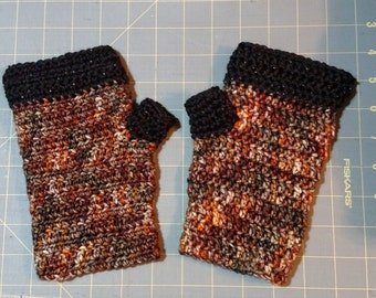 Black Sparkle and Clay fingerless mitts arm warmers