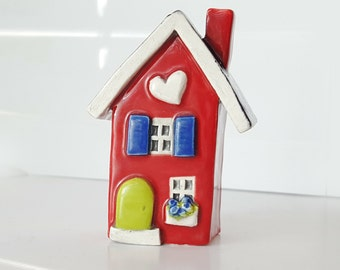 Little Clay House | Ceramic House | Miniature House | Whimsical house | Red House | Fairy House | Clay Cottage