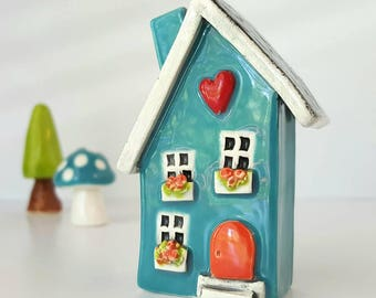 Turquoise Blue House with Orange Door | Little Clay House | Miniature House | Whimsical Clay house | Fairy House | Turquoise Clay Cottage