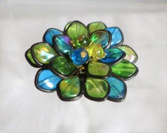 Iridescent Flower Brooch Teal Blue Green Yellow Floral Beautiful Hong Hong