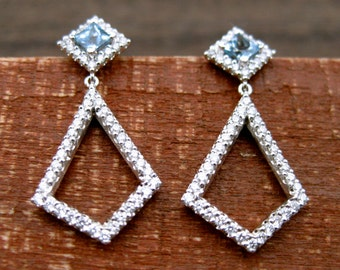 Princess Cut Blue Topaz with 0.50 CT Diamonds in Quadrangle Earrings in 14K White Gold