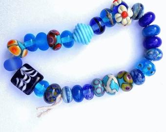 Mixed Blue Artisan Lampwork Beads
