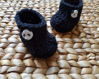 Crochet Baby Boots - Black with Panda Buttons -  0-3 Months - free shipping included!