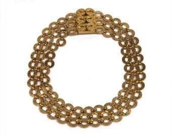 1960s Sandor Triple Strand Gold Plated Metal Open Work Chain Link Vintage Choker Necklace