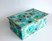 Vintage Sewing Storage Box Wood Blue Floral Mod Style Container Home Decor