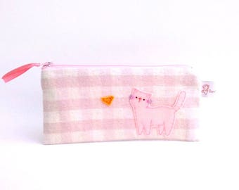 Soft pink gingham pencil case with cute cat school supplies school purse pouch zipper pencil pouch gift for teens