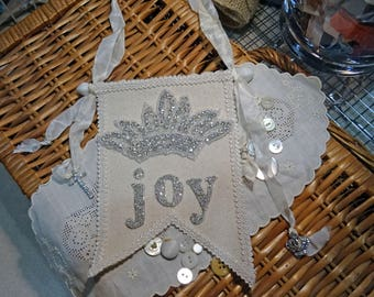 Fabric and Lace Altered Canvas  Mini Banner - crown JOY - NO37