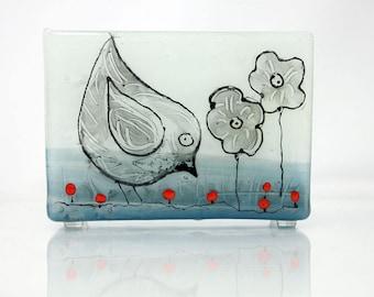 Napkin holder Fused glass art sgraffito, handnmade black bird Design landscape, unique  gift for any occasion  Interior Design